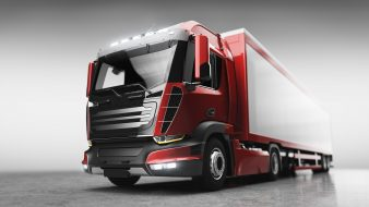 Truck with cargo trailer. Transport, shipping industry. 3D illustration