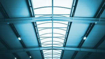 Commercial Warehouse Roof with Glassy Skylight.