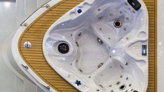 Jacuzzi top view, hot tub, luxury bath, nobody. Comfortable bathtub with hydrotherapy